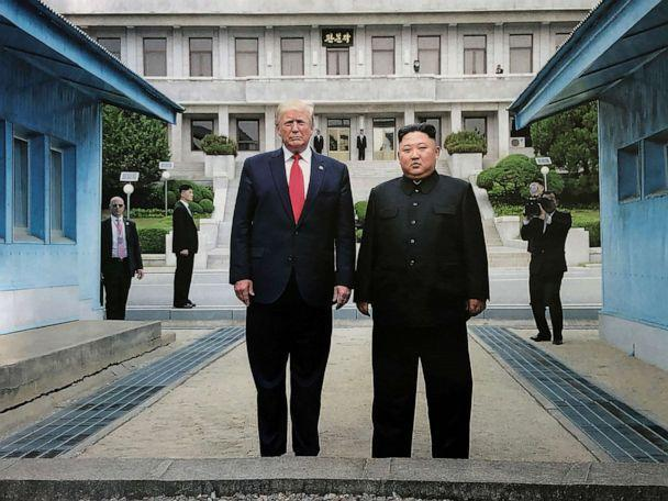 PHOTO: North Korean leader Kim Jong Un and U.S. President Donald Trump inside the demilitarized zone (DMZ) separating the South and North Korea, June 30, 2019, in Panmunjom, South Korea. (Api/Gamma-Rapho via Getty Images)
