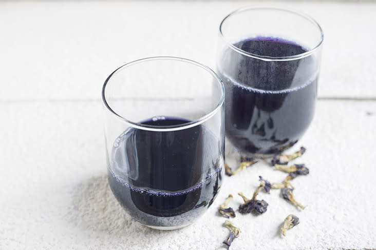 Blue pea flower tea is simple to make and can be kept in the fridge until use.