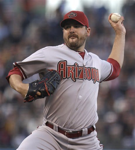 Arizona Diamondbacks' Joe Saunders works against the San Francisco Giants during the first inning of a baseball game Tuesday, May 29, 2012, in San Francisco. (AP Photo/Ben Margot)