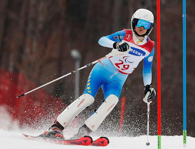 Alpine Skiing - Pyeongchang 2018 Winter Paralympics - Women's Slalom - Standing - Run 1 - Jeongseon Alpine Centre - Jeongseon, South Korea - March 18, 2018 - Ilma Kazazic of Bosnia and Herzegovina. REUTERS/Paul Hanna