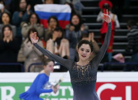 Figure Skating - ISU World Championships 2017 - Ladies Free Skating - Helsinki, Finland - 31/3/17 - Evgenia Medvedeva of Russia reacts after her performance. REUTERS/Grigory Dukor