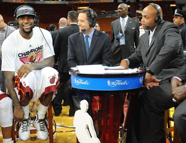 LeBron James and Charles Barkley shared a set after James captured the first of his three career NBA championships. (Getty Images)