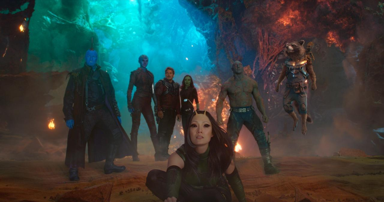 <p>Ladies and gents, meet version 2.0 of the Guardians: (from left) Yondu Udonta (Michael Rooker), Nebula (Karen Gillan), Star-Lord (Chris Pratt), Gamora (Zoe Saldana), Mantis (Pom Klementieff), Drax (Dave Bautista), Rocket Raccon (Bradley Cooper), and Baby Groot (Vin Diesel). (Photo: Marvel) </p>