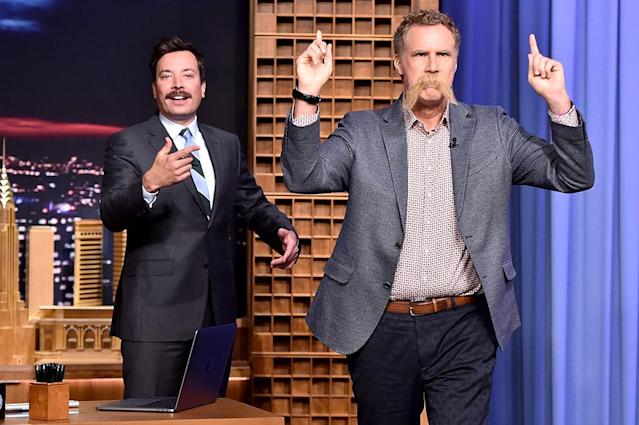 "<p>Notice anything different about the funnyman's face during his visit to <i>The Tonight Show Starring Jimmy Fallon</i>? He was sporting what he called ""a wise mustache."" (Photo: Theo Wargo/Getty Images for NBC) </p>"