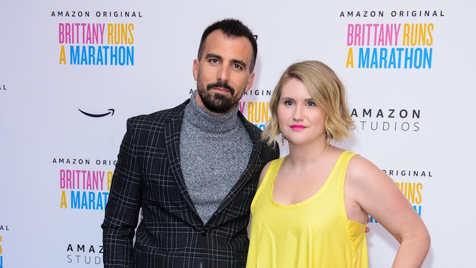 """Paul Downs Colaizzo and Jillian Bell attend """"Brittany Runs a Marathon"""" UK Premiere on October 23, 2019. (Photo by Joe Maher/Getty Images)"""