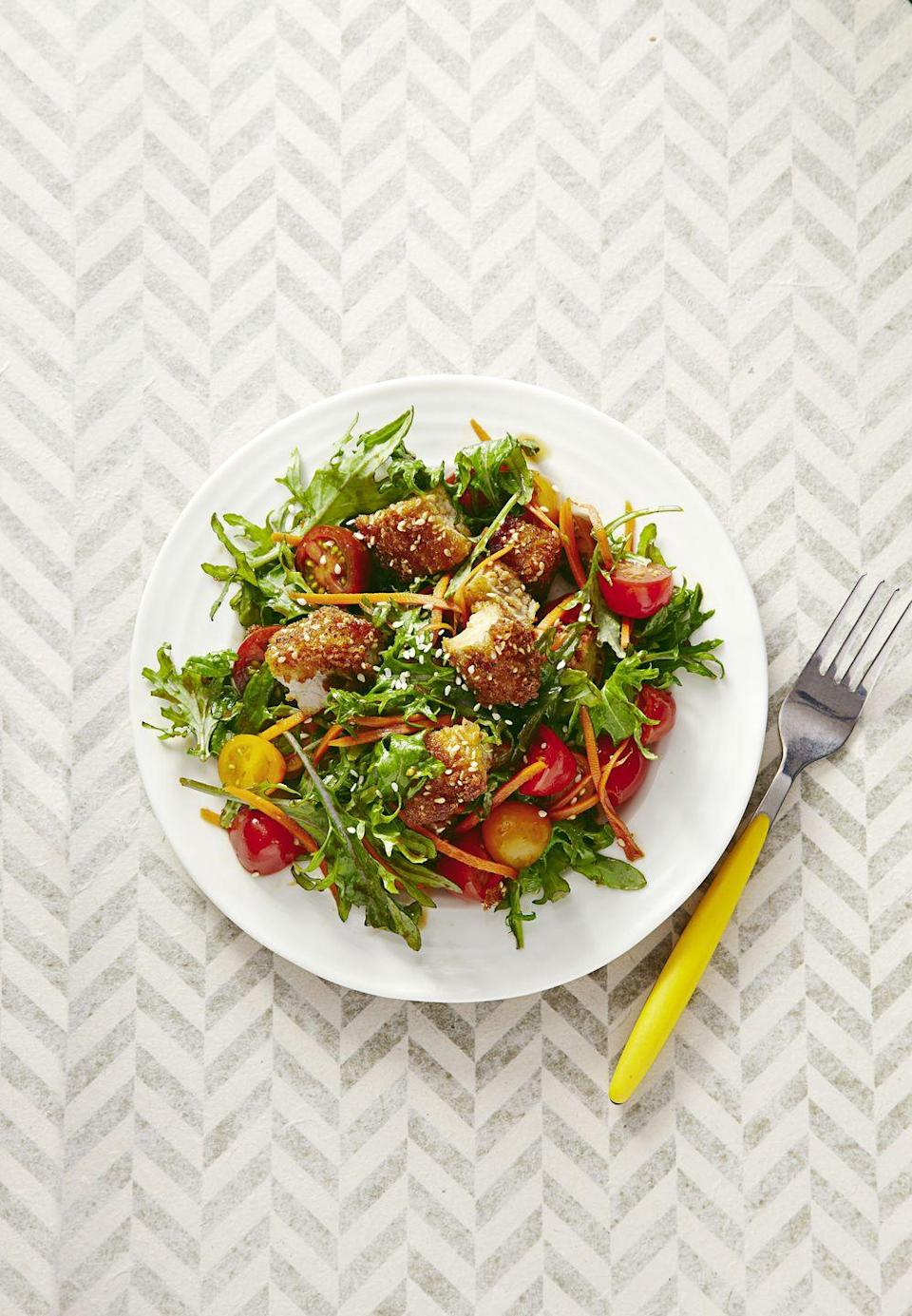 """<p>""""Everything in moderation"""" means you totally should have that pan-fried sesame pork ... but add some fresh salad to your plate too. </p><p><em><a href=""""https://www.goodhousekeeping.com/food-recipes/a31838/crispy-sesame-pork-recipe-2-ghk0415/"""" rel=""""nofollow noopener"""" target=""""_blank"""" data-ylk=""""slk:Get the recipe for Crispy Sesame Pork »"""" class=""""link rapid-noclick-resp"""">Get the recipe for Crispy Sesame Pork »</a></em> </p>"""