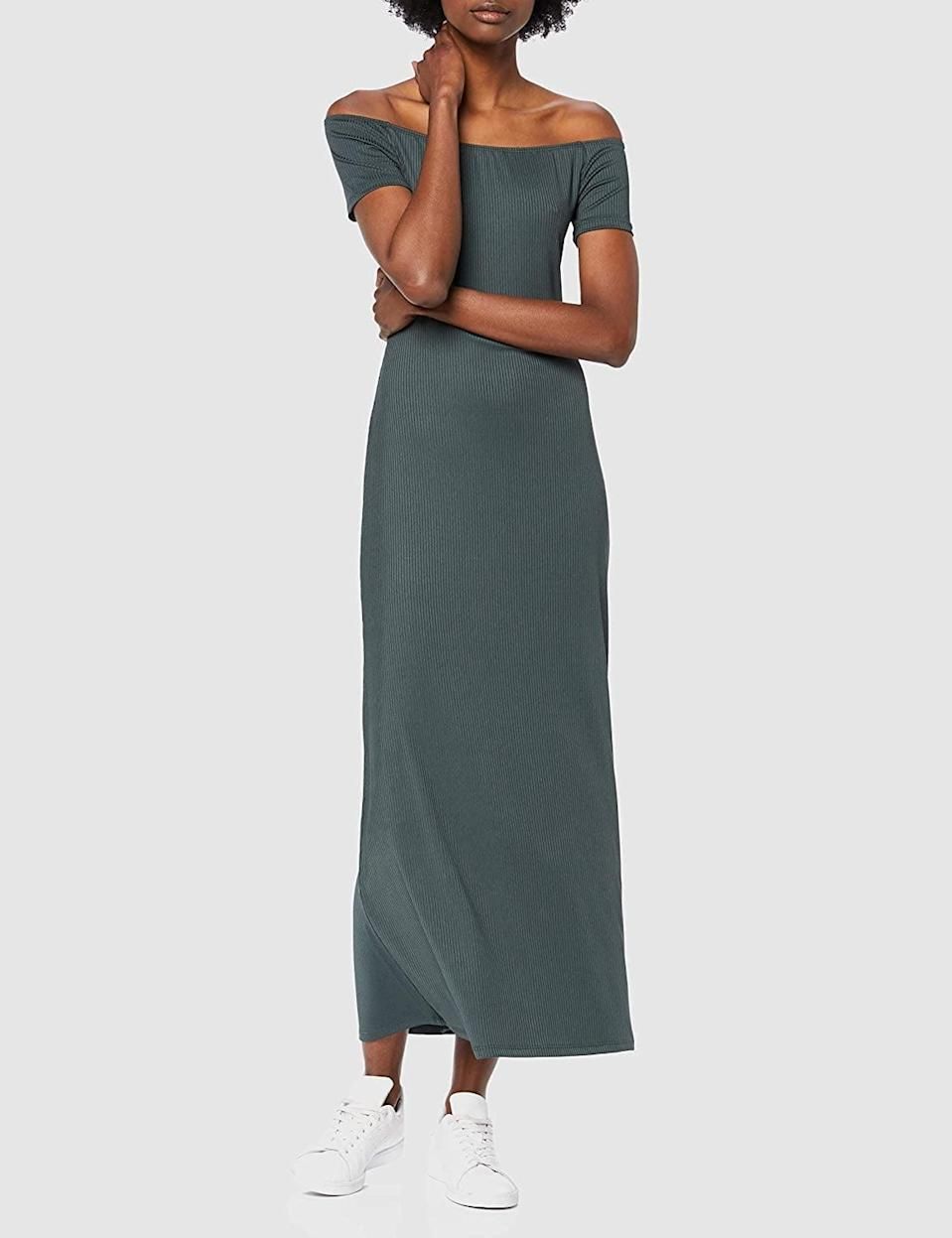 <p>This chic <span>Find. Rib Jersey Off-Shoulder Midi Dress</span> ($26) also comes in black.</p>