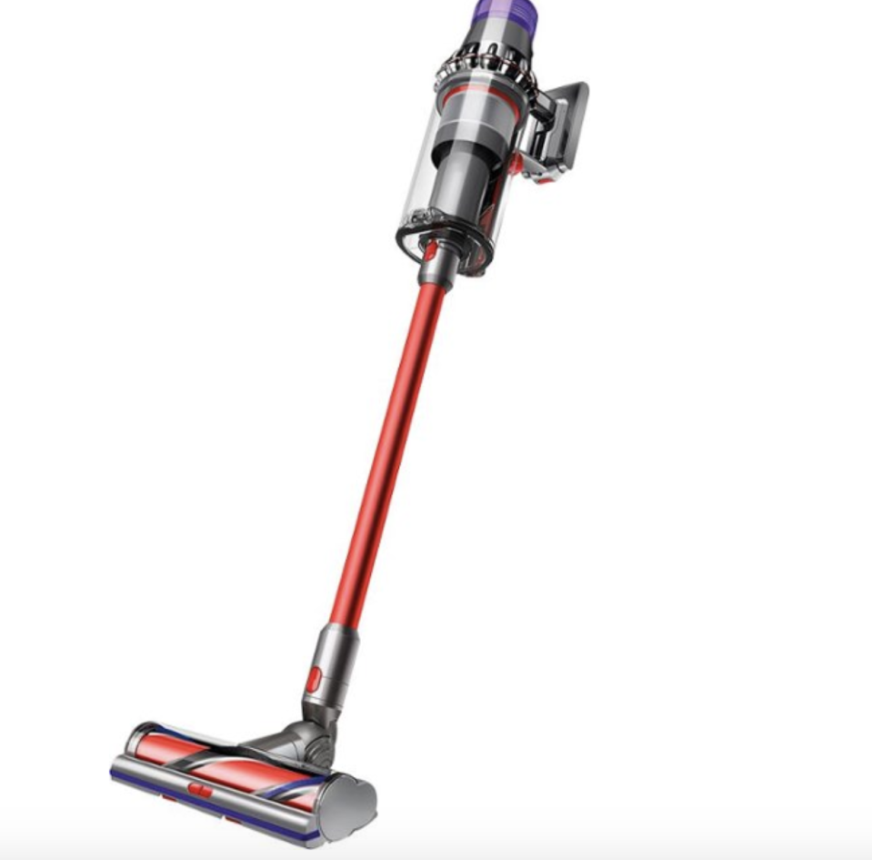 """<p><strong>Dyson</strong></p><p>bedbathandbeyond.com</p><p><strong>$799.99</strong></p><p><a href=""""https://go.redirectingat.com?id=74968X1596630&url=https%3A%2F%2Fwww.bedbathandbeyond.com%2Fstore%2Fproduct%2Fdyson-v11-outsize-cordless-stick-vacuum-in-red-nickel%2F5473988&sref=https%3A%2F%2Fwww.goodhousekeeping.com%2Fappliances%2Fvacuum-cleaner-reviews%2Fg1833%2Fbest-vacuums-1007%2F"""" rel=""""nofollow noopener"""" target=""""_blank"""" data-ylk=""""slk:Shop Now"""" class=""""link rapid-noclick-resp"""">Shop Now</a></p><p>While this new Dyson V11 Outsize bears a striking family resemblance to its V10 Absolute cousin below, it has some significant updates that are worth considering if you have a large home with expansive floor surfaces to clean. Most obvious are its extra wide cleaning head and extra large dust bin. This means <strong>you'll be able to cover more floor with fewer passes and have to empty the dust bin less often.</strong> Three power levels — eco, medium or auto, and boost — allow you to adjust the suction up or down to grab heavy dirt or protect delicate rugs you come across in your path. In auto mode, the vacuum senses whether it's on bare floor or carpet and adjusts the power and runtime accordingly. In our GH Cleaning Lab review, we found the suction impressive and the head easily maneuvered around furniture legs and into tight spaces. Between it being cordless and its back-up battery pack for up to two hours of runtime, the only reason you'll need to stop cleaning is because the job is done! </p>"""