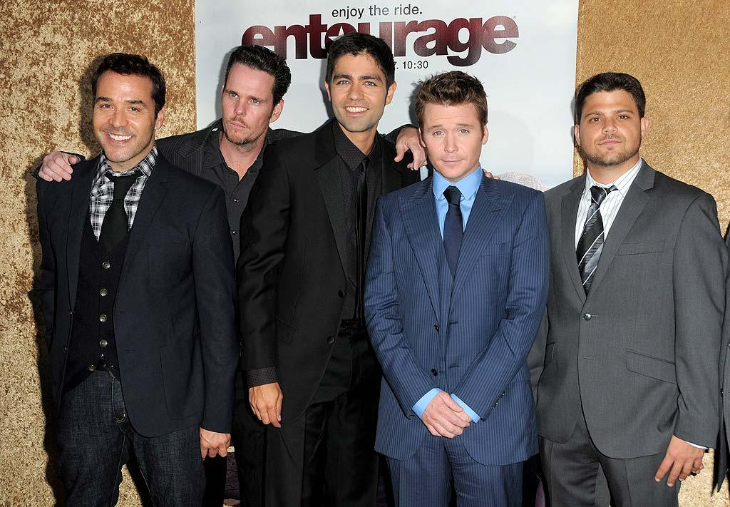 """Jeremy Piven, Kevin Dillon, Adrian Grenier, Kevin Connolly, and Jerry Ferrara suited up for the season premiere of their hit HBO show """"Entourage"""" Wednesday night at Paramount Studios in Hollywood. Jordan Strauss/<a href=""""http://www.wireimage.com"""" target=""""new"""">WireImage.com</a> - June 16, 2010"""