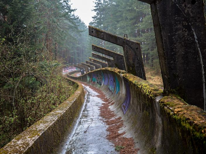 The broken down bobsleigh track at Mount Trebevi & # x000107 ;.