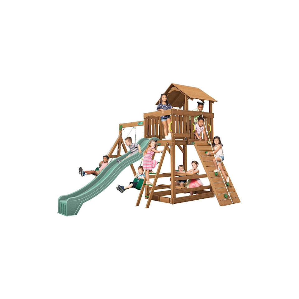 """<p><strong>Creative Playthings</strong></p><p>amazon.com</p><p><strong>$1699.00</strong></p><p><a href=""""https://www.amazon.com/dp/B0787DC7LJ?tag=syn-yahoo-20&ascsubtag=%5Bartid%7C10055.g.35853477%5Bsrc%7Cyahoo-us"""" rel=""""nofollow noopener"""" target=""""_blank"""" data-ylk=""""slk:Shop Now"""" class=""""link rapid-noclick-resp"""">Shop Now</a></p><p>This swing set has something for every kid. In addition to its two swings, it also features a trapeze, slide, a ground-level picnic table and a covered top-level porch, accessible by ladder or climbing wall. <strong>Creative Playthings also offers attachments you can add and swap over time</strong>, including alternate <a href=""""https://www.amazon.com/Bucket-Toddler-Swing-with-Chains/dp/B003E465HG?tag=syn-yahoo-20&ascsubtag=%5Bartid%7C10055.g.35853477%5Bsrc%7Cyahoo-us"""" rel=""""nofollow noopener"""" target=""""_blank"""" data-ylk=""""slk:swing options"""" class=""""link rapid-noclick-resp"""">swing options</a>, a <a href=""""https://www.amazon.com/Creative-Playthings-Stand-Swing-chain/dp/B00IW6QUQ2?tag=syn-yahoo-20&ascsubtag=%5Bartid%7C10055.g.35853477%5Bsrc%7Cyahoo-us"""" rel=""""nofollow noopener"""" target=""""_blank"""" data-ylk=""""slk:standing swing"""" class=""""link rapid-noclick-resp"""">standing swing</a>, a <a href=""""https://www.amazon.com/Creative-Playthings-LTD-Steering-Wheel/dp/B000IZ02XW?tag=syn-yahoo-20&ascsubtag=%5Bartid%7C10055.g.35853477%5Bsrc%7Cyahoo-us"""" rel=""""nofollow noopener"""" target=""""_blank"""" data-ylk=""""slk:steering wheel"""" class=""""link rapid-noclick-resp"""">steering wheel</a> and more.</p><p>Our experts love the durability of this set, made with dense southern yellow pine wood and treated with Sherwin Williams water repellant stain, adding extra protection from rot and insects. Plastisol-coated swing chains and non-slip ladder rungs mitigate potential safety hazards while this swing set meets all other ASTM safety standards.</p><p><em>Assembled dimensions: 15' x 12' x 7'</em></p>"""
