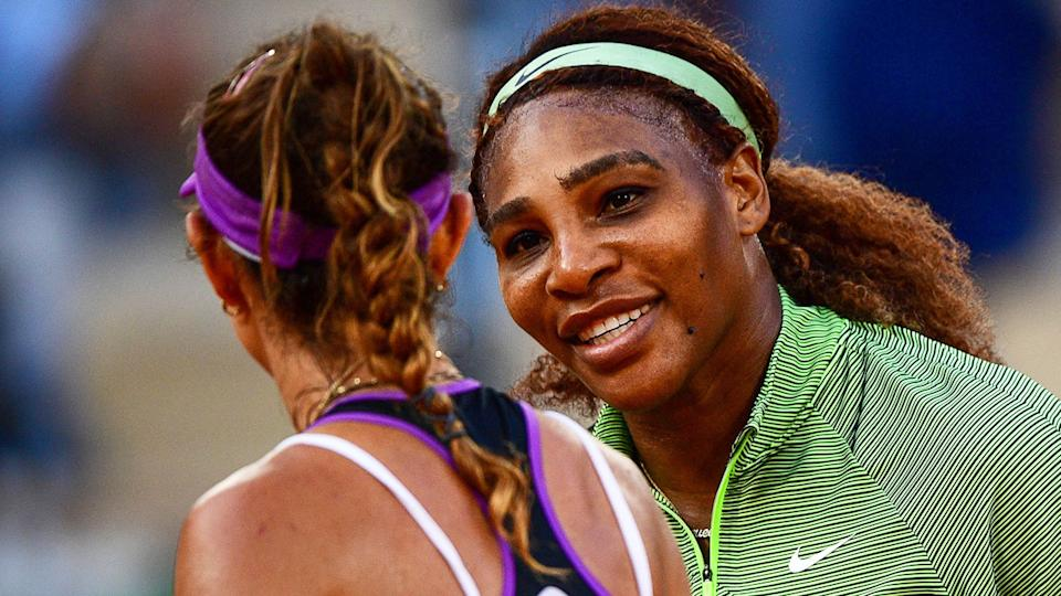 Pictured here, Serena Williams and Mihaela Buzarnescu congratulate each other after their French Open match.