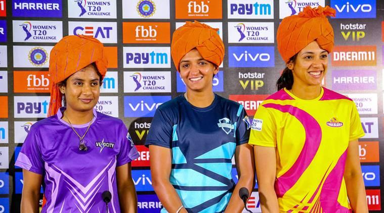 Velocity team captain Mithali Raj , Supernovas team captain Harmanpreet Kaur and Trailblazers team captain Smriti Mandhana address media personnel, ahead of the Women T20 Challenge matches, in Jaipur