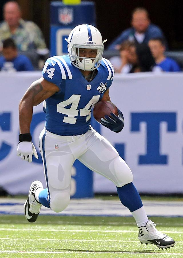Indianapolis Colts Ahmad Bradshaw #44 runs for yardage during an NFL game against the Miami Dolphins at Lucas Oil Stadium in Indianapolis on Sunday, Sept. 15, 2013. (AP Photo/Layne Murdoch)