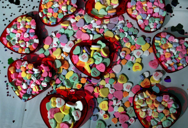 "The original ""conversation candies"" were not hearts, but new shapes were added at the start of the 20th century.  (Boston Globe via Getty Images)"