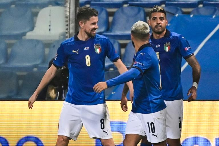Jorginho (L) opened the scoring with a penalty