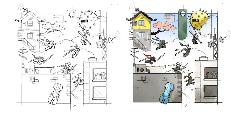 """<p>Storyboard panels show the characters in action. """"I found the most fun aspect of this model was how easy the size allowed me to visualize the characters' movements and interactions around the city,"""" says Stamp. (Credit: Lego) </p>"""