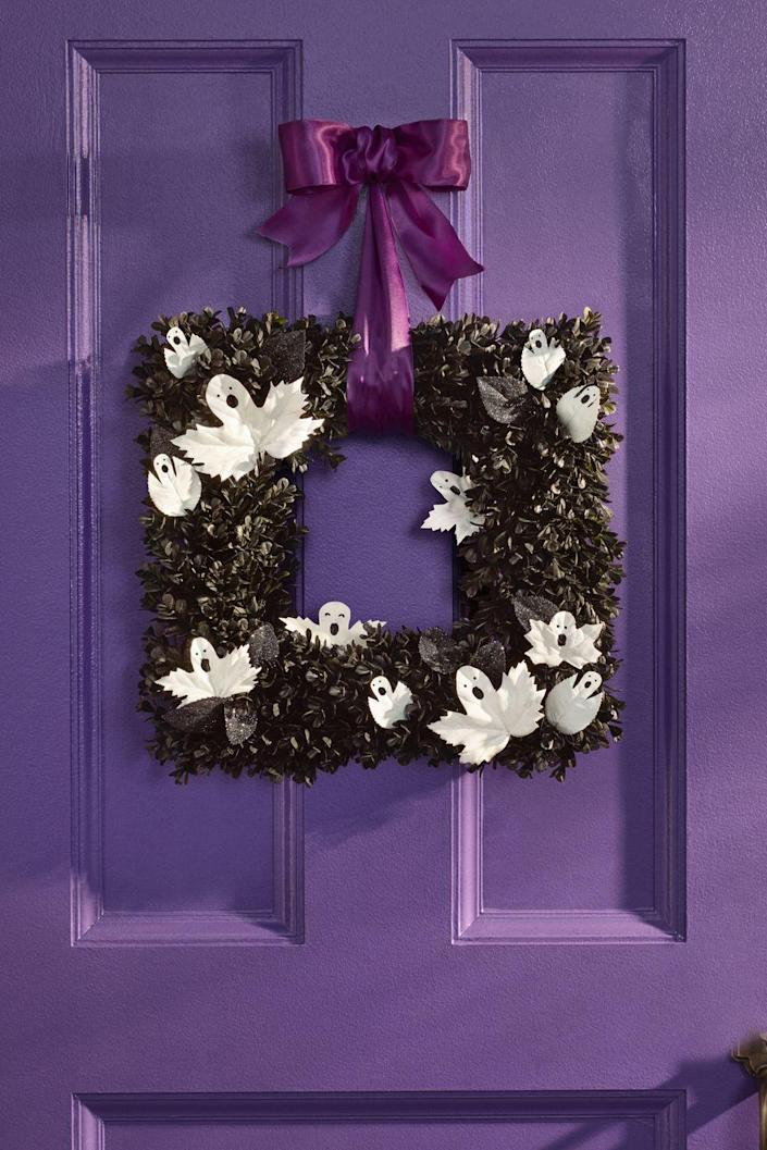 """<p>You can easily turn a square boxwood wreath into an adorable ghost wreath to welcome your guests.</p><p><strong><em><a href=""""https://www.womansday.com/home/crafts-projects/a28714368/ghostly-entry/"""" rel=""""nofollow noopener"""" target=""""_blank"""" data-ylk=""""slk:Get the Ghost Wreath tutorial"""" class=""""link rapid-noclick-resp"""">Get the Ghost Wreath tutorial</a>.</em></strong></p><p><a class=""""link rapid-noclick-resp"""" href=""""https://www.amazon.com/LMflorals-Preserved-Handcrafted-Farmhouse-Decorations/dp/B08SGTG2MM?tag=syn-yahoo-20&ascsubtag=%5Bartid%7C10070.g.2488%5Bsrc%7Cyahoo-us"""" rel=""""nofollow noopener"""" target=""""_blank"""" data-ylk=""""slk:SHOP BOXWOOD WREATH"""">SHOP BOXWOOD WREATH</a></p>"""