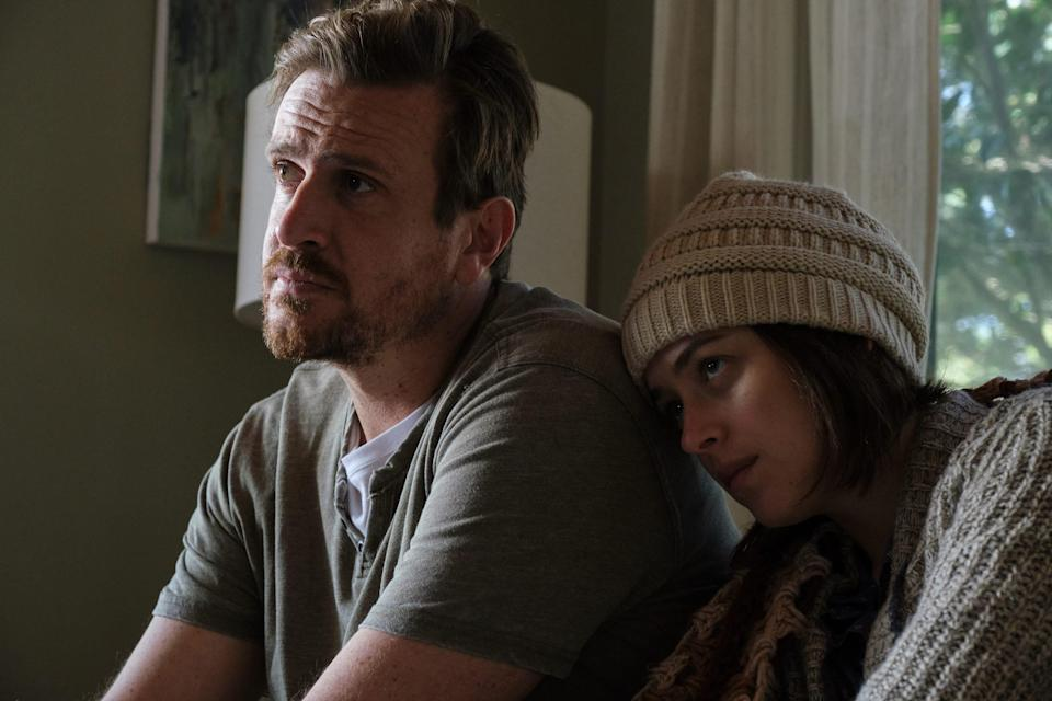 """Dane (Jason Segel) drops everything to help care for Nicole (Dakota Johnson) when her cancer becomes terminal in """"Our Friend."""""""