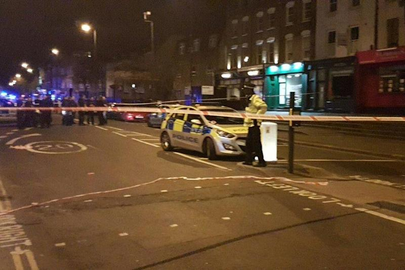 Several people were injured after a car ploughed into pedestrians in Essex Road, Islington (Shulem Stern/Twitter)