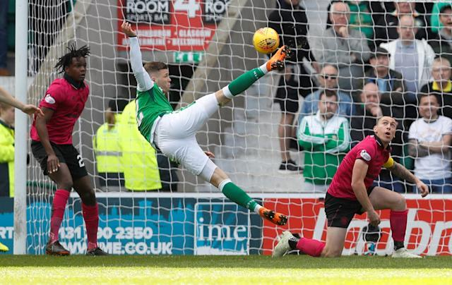 Soccer Football - Scottish Premiership - Hibernian v Celtic - Easter Road, Edinburgh, Britain - April 21, 2018 Hibernian's Florian Kamberi shoots at goal REUTERS/Russell Cheyne