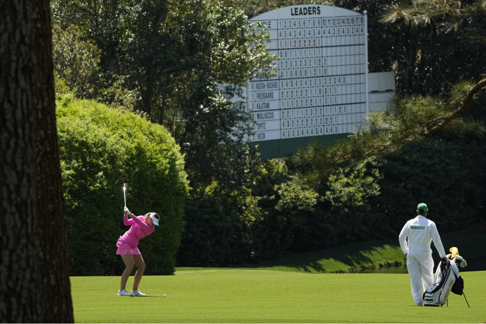 Olivia Mehaffey, of Northern Ireland, hits her second shot on the 11th hole during the final round of the Augusta National Women's Amateur golf tournament at Augusta National Golf Club, Saturday, April 3, 2021, in Augusta, Ga. (AP Photo/David J. Phillip)