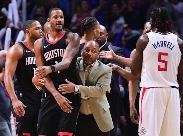 Trevor Ariza was reportedly 'the first one through the door' of the Clippers' locker room after the Rockets' Monday night loss. (Getty)