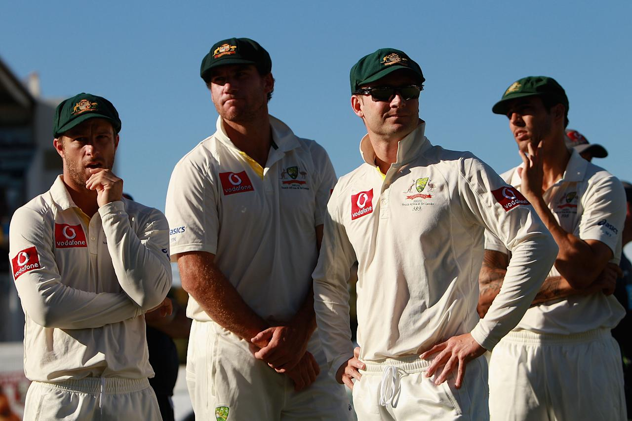 PERTH, AUSTRALIA - DECEMBER 03:  Michael Clarke of Australia looks on with team-mates during day four of the Third Test Match between Australia and South Africa at the WACA on December 3, 2012 in Perth, Australia.  (Photo by Robert Prezioso/Getty Images)
