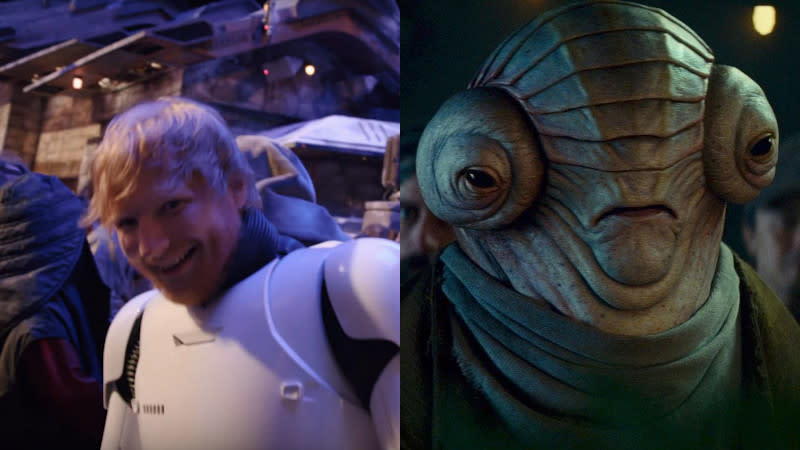 Ed Sheeran played an alien in 'Star Wars: The Rise of Skywalker'. (Credit: Disney/Lucasfilm)