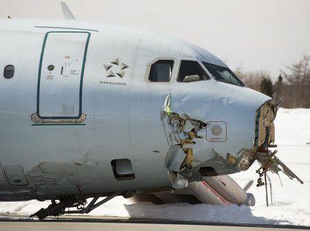 Air Canada flight 624 that crashed early Sunday morning during a snowstorm, is seen at Halifax Stanfield International Airport in Enfield