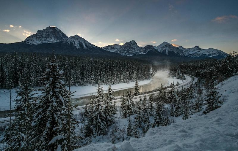 Two US snowshoers are feared dead after they appeared to have been caught in an avalanche in Banff National Park (pictured) in the Canadian Rocky Mountains