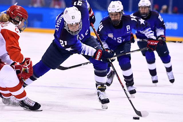 Hilary Knight (21) and the U.S. women's hockey team are ready for another showdown with Canada. (Getty)