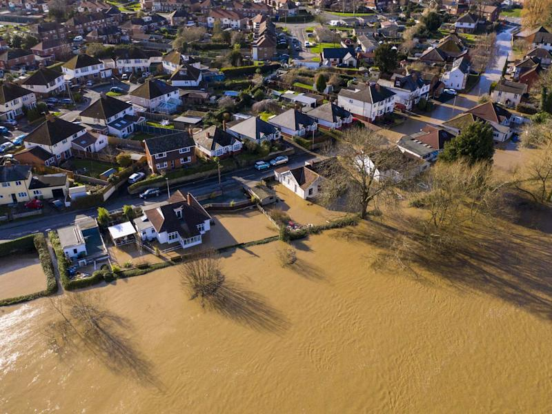 An aerial view showing flooding from the River Wye following Storm Dennis on February 17, 2020 in Hereford, England: Getty Images