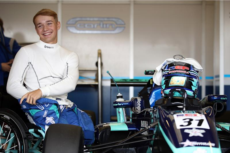 NORTHAMPTON, ENGLAND - SEPTEMBER 08: Billy Monger of Great Britain and Carlin Motorsport prepares for race 2 of the Euroformula Open Series race at Silverstone Circuit on September 08, 2019 in Northampton, England. (Photo by Bryn Lennon/Getty Images)