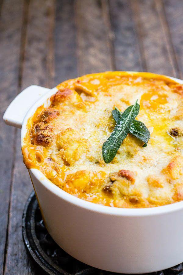 """<strong>Get the <a href=""""http://www.thewickednoodle.com/creamy-baked-pumpkin-gnocchi/"""" target=""""_blank"""">Creamy Baked Pumpkin Gnocchi with Italian Sausage recipe</a>from The Wicked Noodle</strong>"""