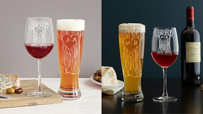 Best personalized gifts 2020: Tree Trunk Glassware Duo