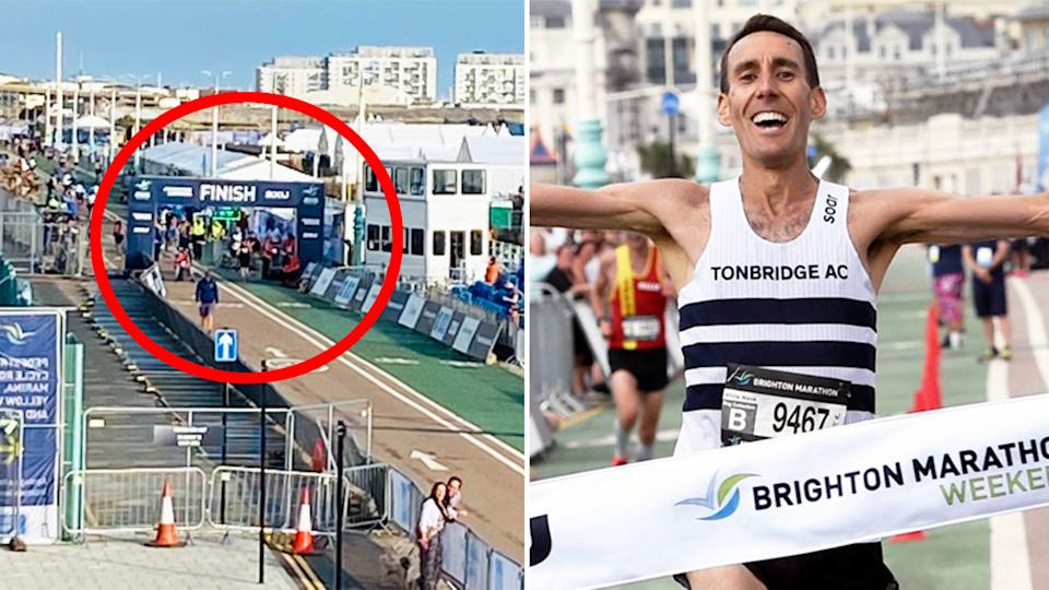 Pictured here, Neil McClements celebrates after winning the 2021 Brighton Marathon.