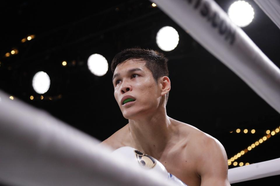 Kazakhstan's Daniyar Yeleussinov waits in a neutral corner after knocking down Reshard Hicks during the first round of a welterweight boxing match Friday, Sept. 13, 2019, in New York. Yeleussinov stopped Hicks in the first round. (AP Photo/Frank Franklin II)