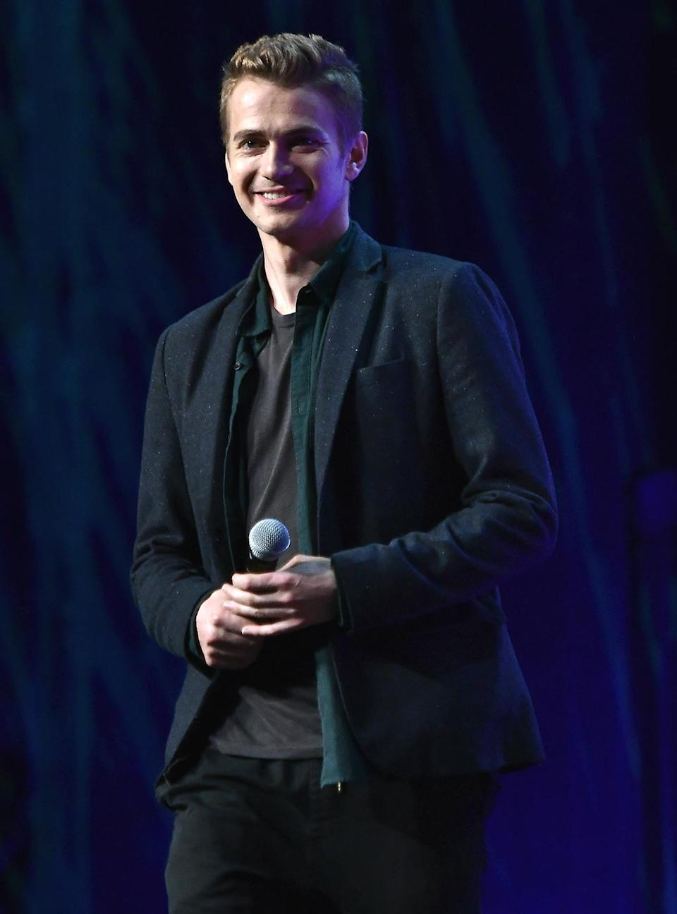 <p>Hayden Christensen, from <em>Episode II: Attack of the Clones</em> and <em>Episode III: Revenge of the Sith</em>, joined the panel and described how he couldn't stop making light saber noises during the duels. (Photo: Gustavo Caballero/Getty Images) </p>