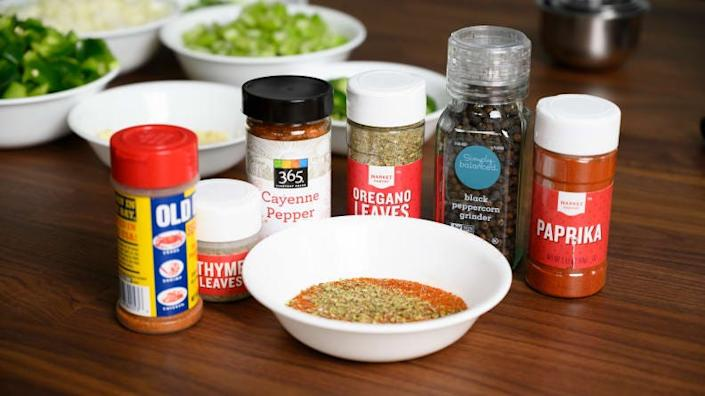 Gather the spices and mix them in a small bowl.