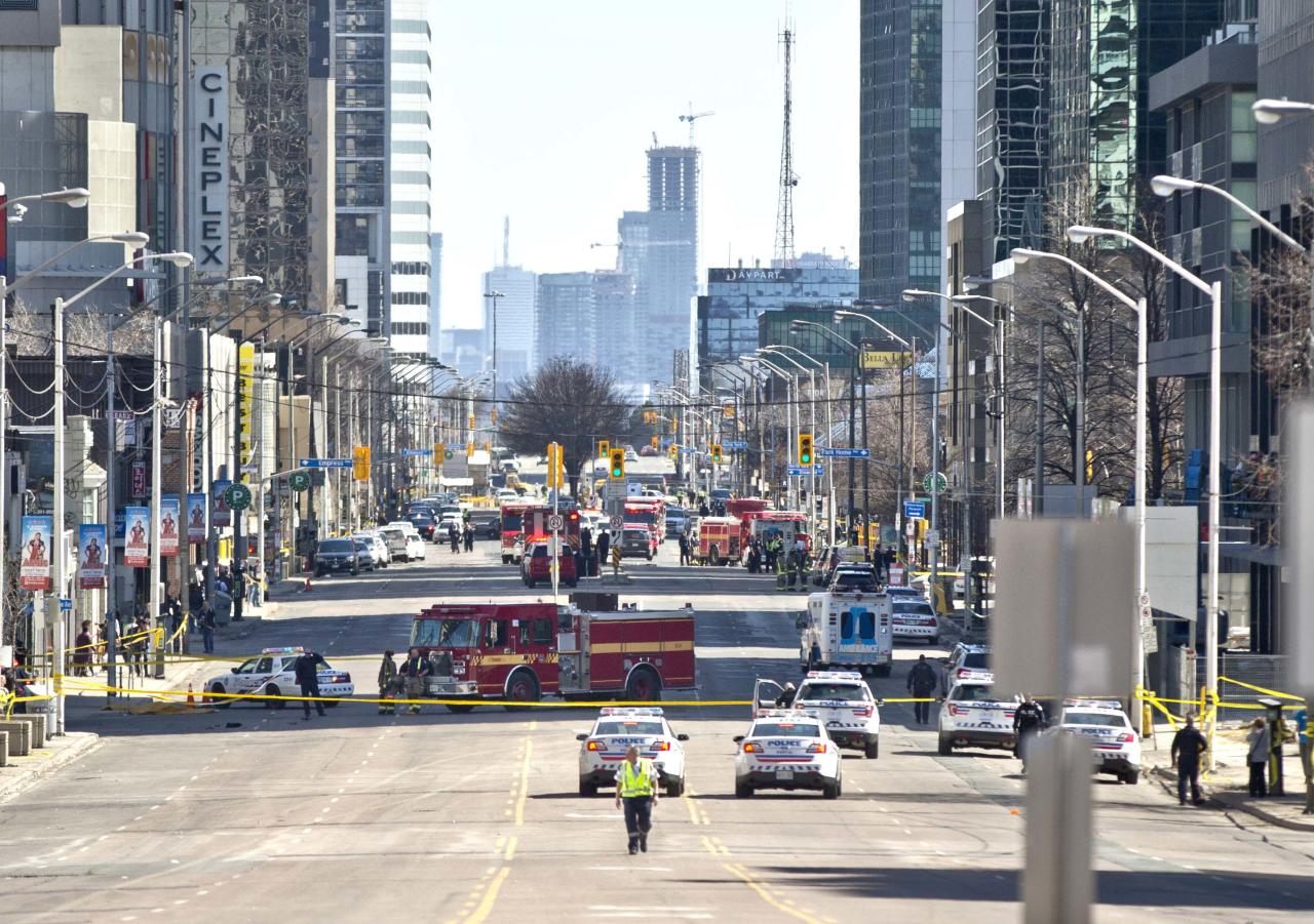 <p>A southbound view of Yonge Street after a male driver sped a cargo van down the busy sidewalk killing a number of people. Getty Images </p>