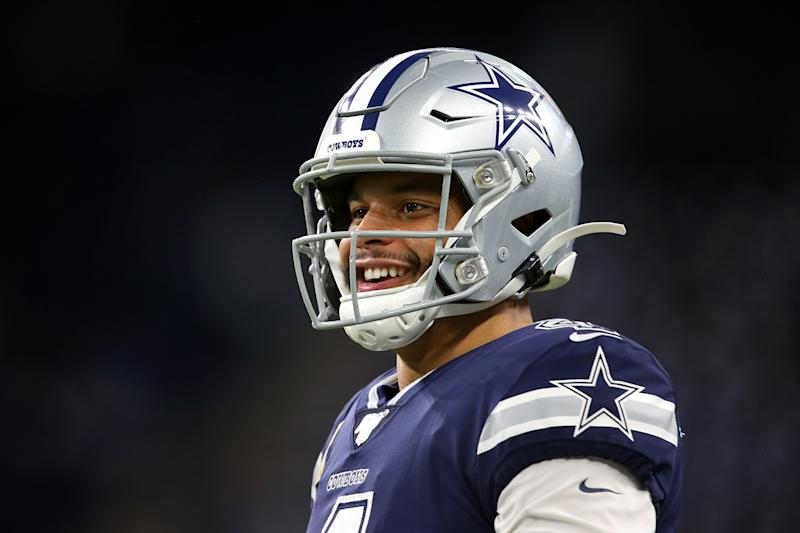 Dallas Cowboys quarterback Dak Prescott (4) looks on during warmups before the first half of an NFL football game against the Dallas Cowboys in Detroit, Michigan USA, on Sunday, November 17, 2019. (Photo by Amy Lemus/NurPhoto via Getty Images)