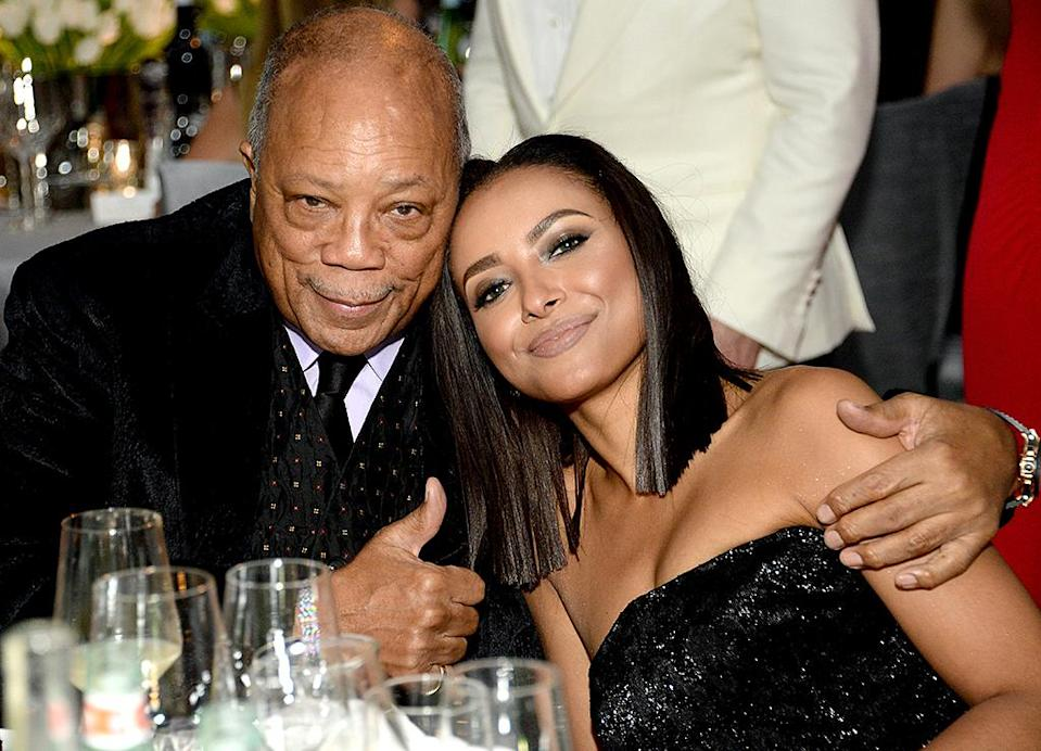 <p>Record producer Quincy Jones (L) and actress Kat Graham attend the 25th Annual Elton John AIDS Foundation's Academy Awards Viewing Party at The City of West Hollywood Park on February 26, 2017 in West Hollywood, California. (Photo by Michael Kovac/Getty Images for EJAF) </p>