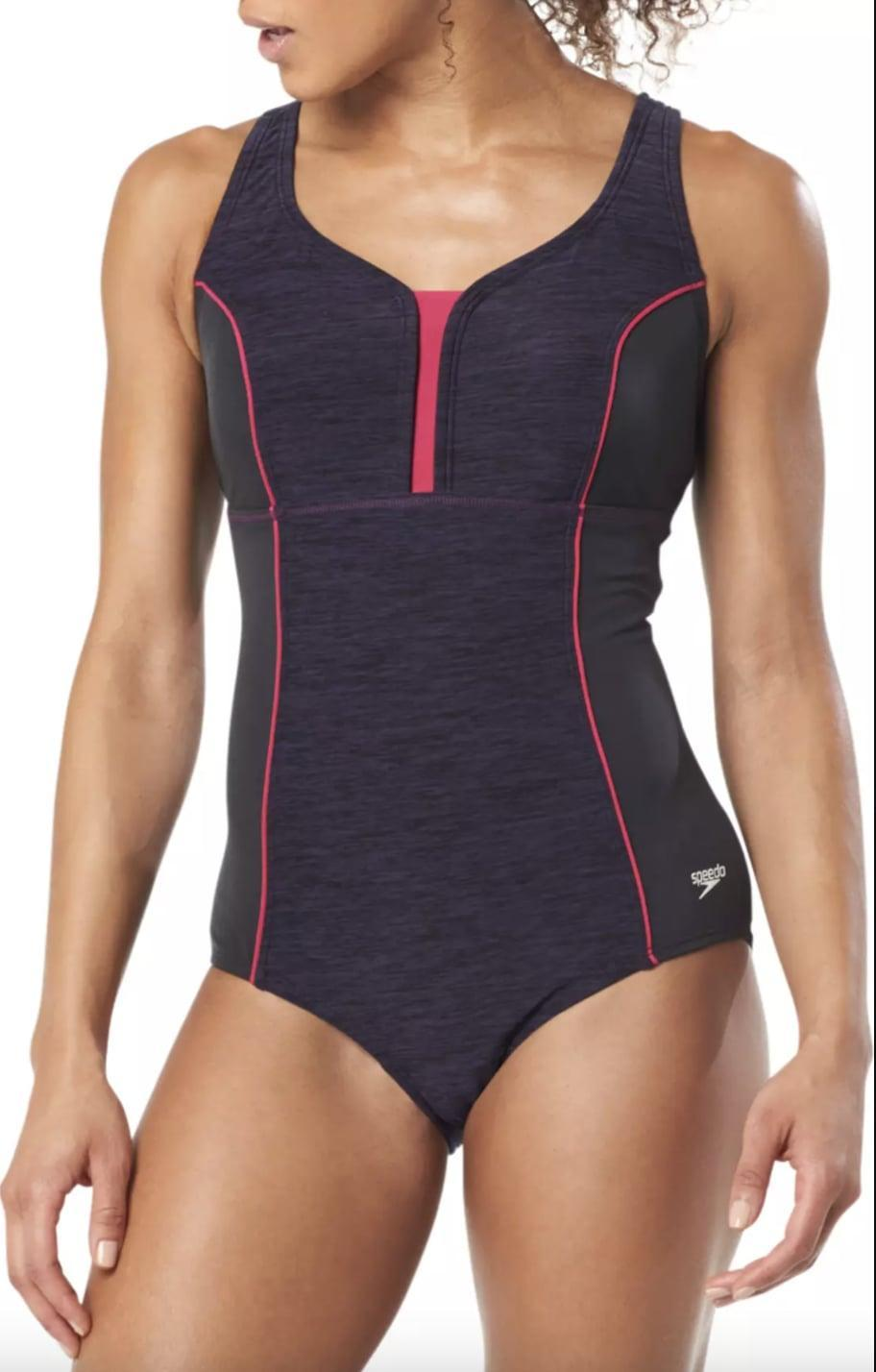 <p>This <span>Speedo Texture Touchback Racerback One Piece Swimsuit</span> ($65) includes a zip-front closure. </p>