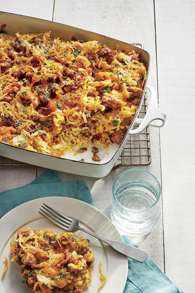 "<p><b>Recipe: <a href=""https://www.southernliving.com/recipes/sausage-hashbrown-breakfast-casserole"">Sausage-Hash Brown Breakfast Casserole</a></b></p> <p>For a big-batch egg casserole, this recipe—packed with hash browns, sausage, and plenty of cheese—makes the ultimate crowd-pleaser. </p>"