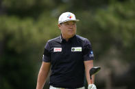 Sungja Im of South Korea watches his drive off the fourth tee during the third round of the Rocket Mortgage Classic golf tournament, Saturday, July 3, 2021, at the Detroit Golf Club in Detroit. (AP Photo/Carlos Osorio)