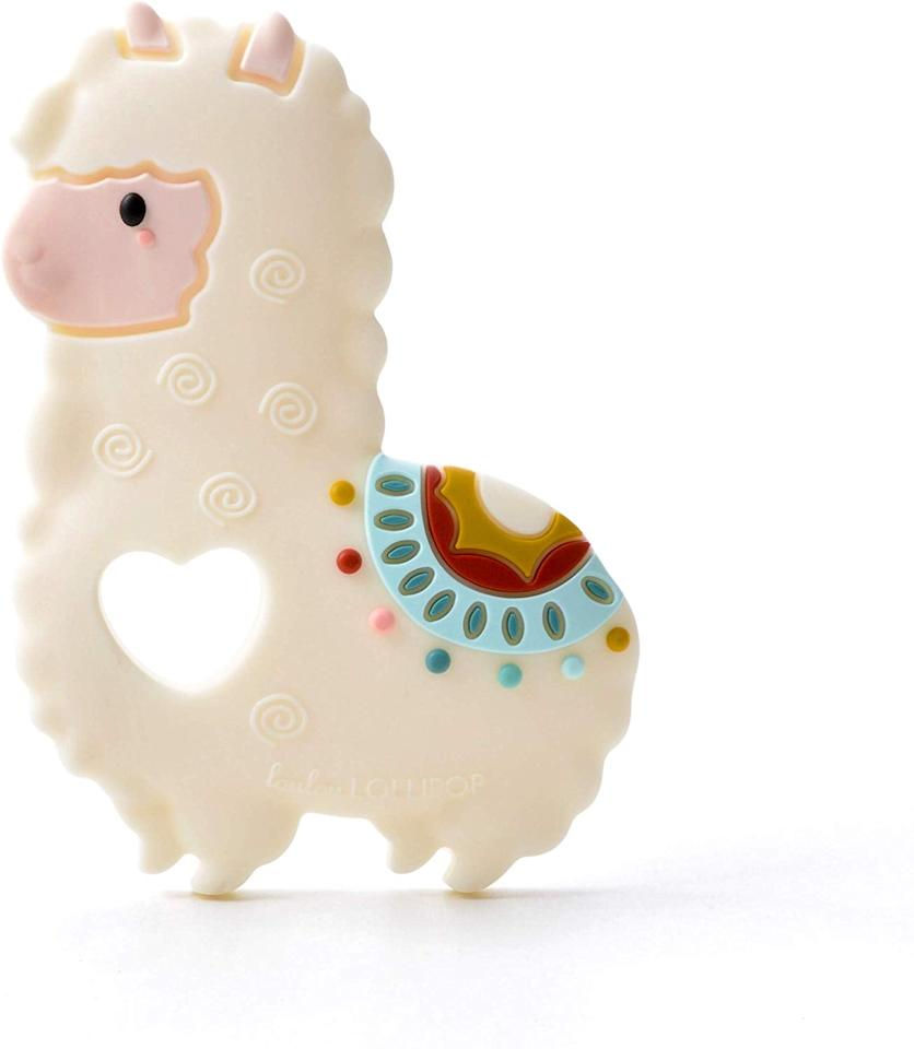 "<p>Your little one will love chewing on this <a href=""https://www.popsugar.com/buy/Loulou-Lollipop-Llama-Soft-Silicone-Teether-506638?p_name=Loulou%20Lollipop%20Llama%20Soft%20Silicone%20Teether&retailer=amazon.com&pid=506638&price=15&evar1=moms%3Aus&evar9=25752605&evar98=https%3A%2F%2Fwww.popsugar.com%2Fphoto-gallery%2F25752605%2Fimage%2F45426648%2FLoulou-Lollipop-Llama-Soft-Silicone-Teether&list1=gifts%2Choliday%2Cstocking%20stuffers%2Cgift%20guide%2Cbabies%2Cnewborn%2Cgifts%20under%20%24100%2Cbaby%20shopping%2Cgifts%20for%20babies%2Cgifts%20for%20toddlers&prop13=api&pdata=1"" rel=""nofollow"" data-shoppable-link=""1"" target=""_blank"" class=""ga-track"" data-ga-category=""Related"" data-ga-label=""https://www.amazon.com/Loulou-Lollipop-Llama-Silicone-Teether/dp/B07S6Q55XT"" data-ga-action=""In-Line Links"">Loulou Lollipop Llama Soft Silicone Teether</a> ($15).</p>"