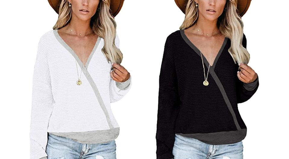 NSQTBA Deep V Neck Wrap Sweater (Photo: Amazon)