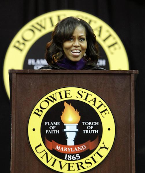 First lady Michelle Obama speaks at the commencement ceremony for Bowie State University, Friday, May 17, 2013, at the University of Maryland in College Park, Md. (AP Photo/Ann Heisenfelt)