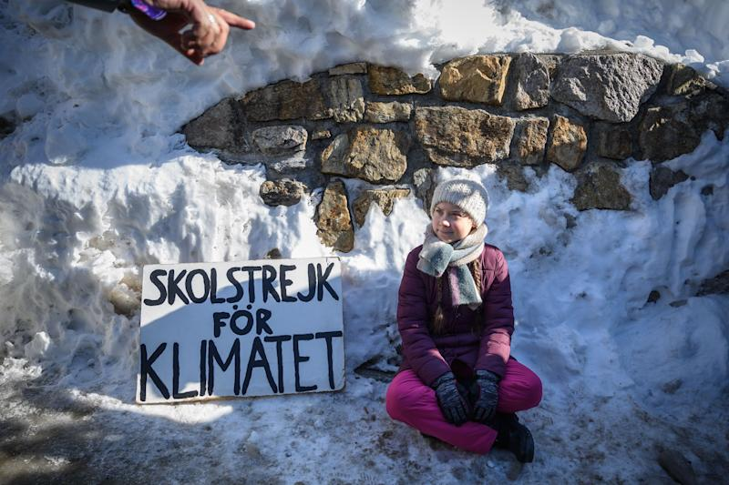 Greta Thunberg expresses her environmental advocacy outside the World Economic Forum's annual meeting on Jan. 25 in Davos, Switzerland.